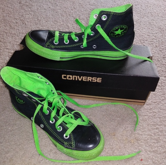 2a25a3ee8bcd Converse Other - Black and Neon Green High Top Converse